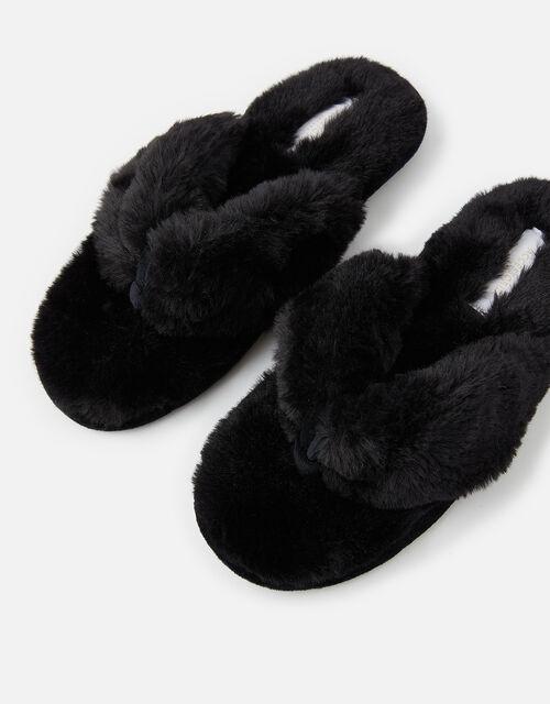Laura Fluffy Thong Slippers, Black (BLACK), large