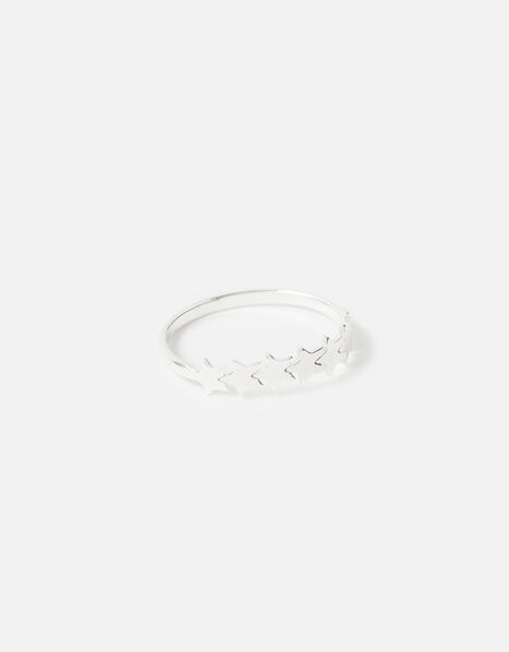 Sterling Silver Star Band Ring Silver, Silver (ST SILVER), large