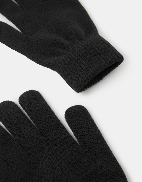 Super-Stretch Knit Gloves, Black (BLACK), large