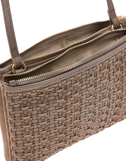 Kristina Woven Leather Cross-Body Bag, Mink (MINK), large