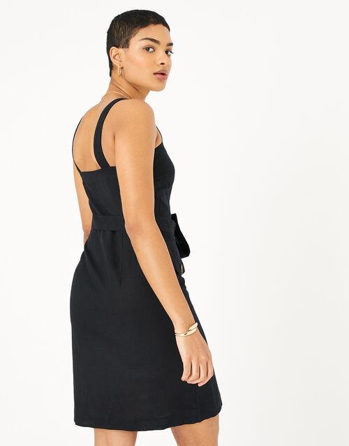 Button-Down Midi Dress in Linen Blend, Black (BLACK), large