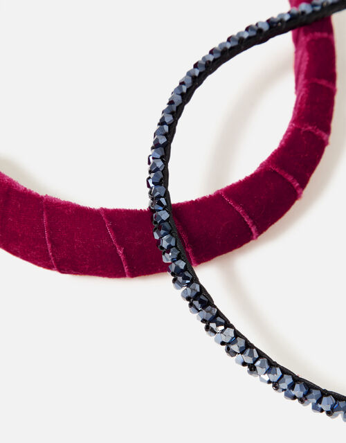 Bead and Velvet Headband Set, , large