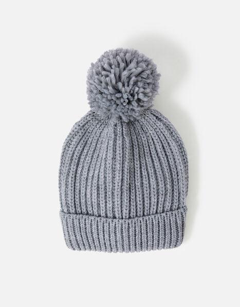 Chunky Knit Pom-Pom Beanie Hat Grey, Grey (LIGHT GREY), large