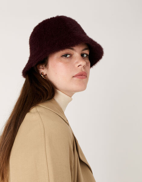 Fluffy Bucket Hat Red, Red (BURGUNDY), large