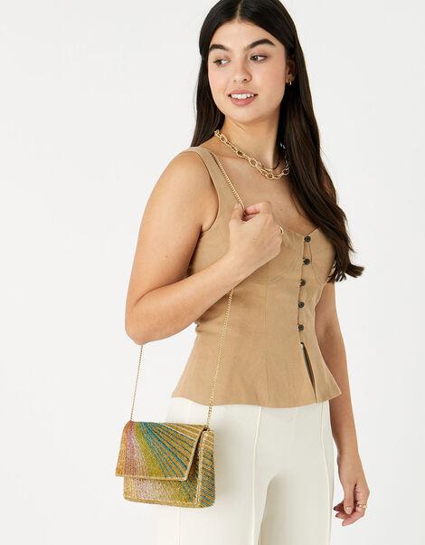 Rainbow Beaded Clutch Bag, , large