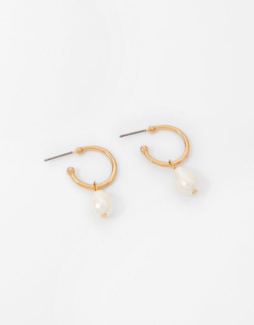 Freshwater Pearl Hoop Earrings, , large