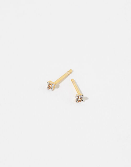 Gold Vermeil White Topaz Stud Earrings, , large