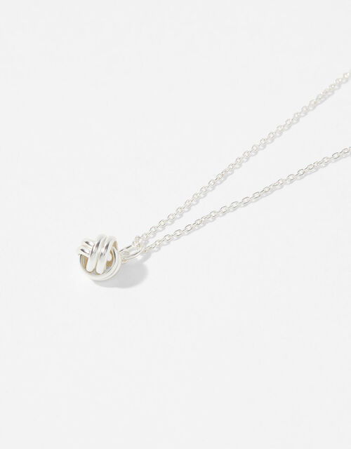 Sterling Silver Knot Pendant Necklace, , large