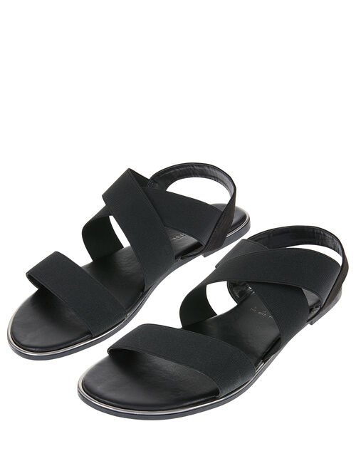 Elasticated Strap Sandals, Black (BLACK), large