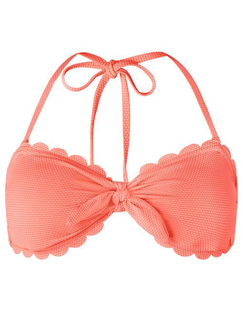 Sasha Scalloped Bandeau Bikini Top, Orange (CORAL), large