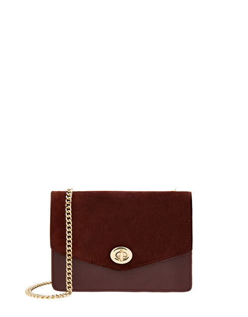 Clara Leather Cross-Body Bag, Red (BURGUNDY), large