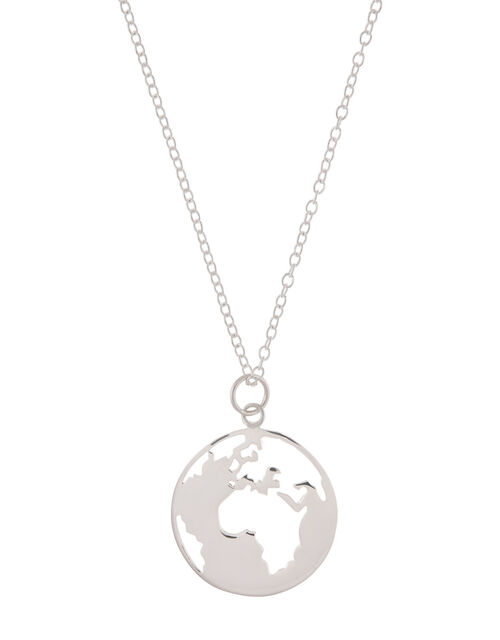 World Pendant Necklace with Recycled Metal, , large