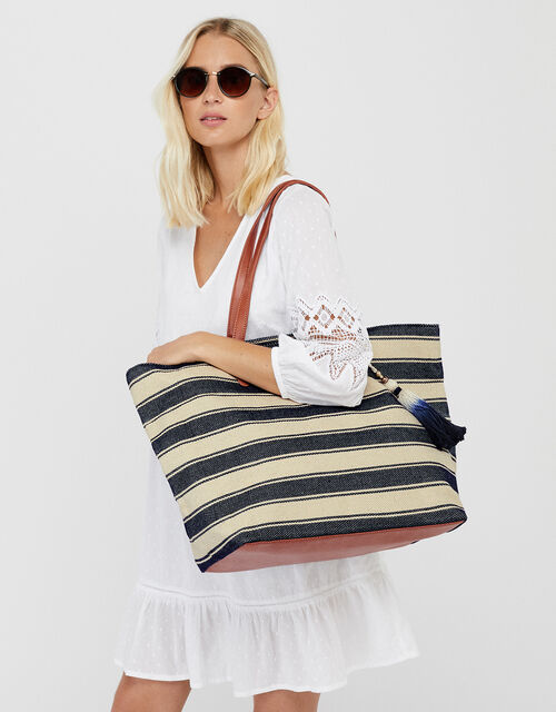 Nautical Stripe Beach Tote Bag, , large