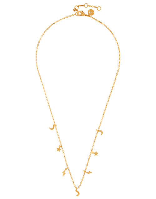 Gold-Plated Celestial Station Charm Necklace, , large
