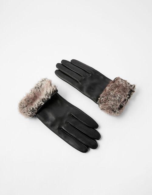 Faux Fur Trim Leather Gloves, Black (BLACK), large