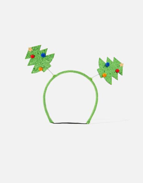Dog Christmas Tree Glitter Bopper Headband Green, Green (GREEN), large