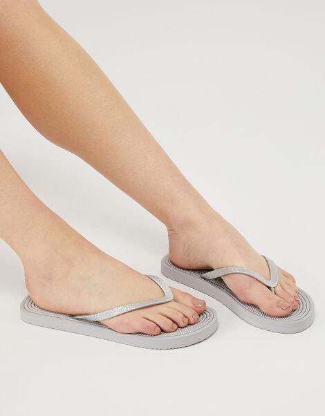Textured Sole Glitter EVA Flip-Flops Grey, Grey (GREY), large