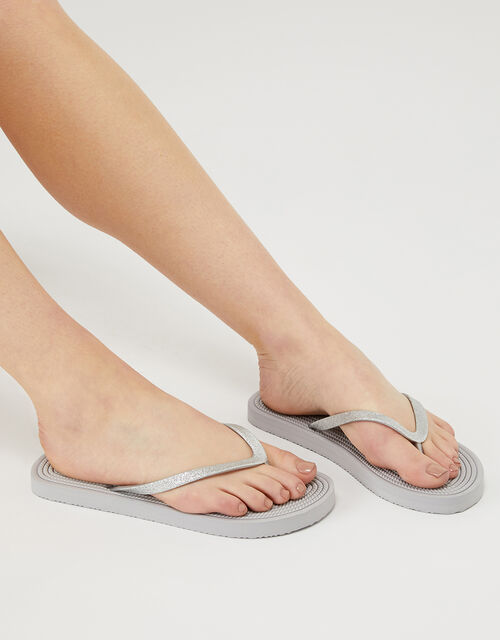 Textured Sole Glitter EVA Flip-Flops, Grey (GREY), large