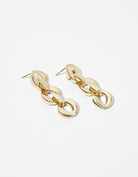 Gold-Plated Oval Chain Drop Earrings, , large