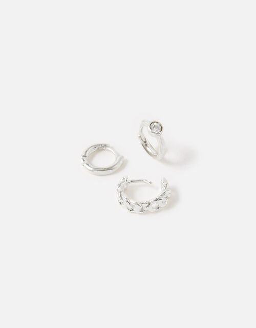 Plain Chain Crystal Hoop Set , Silver (SILVER), large