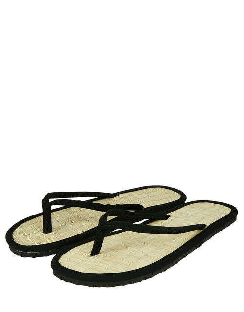Plain Black Seagrass Flip Flops, Black (BLACK), large