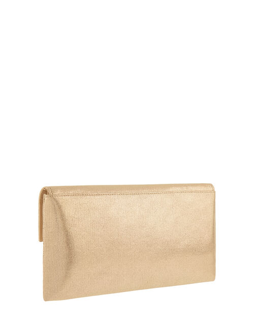 Natalie Metallic Envelope Clutch with Strap, Gold (GOLD), large
