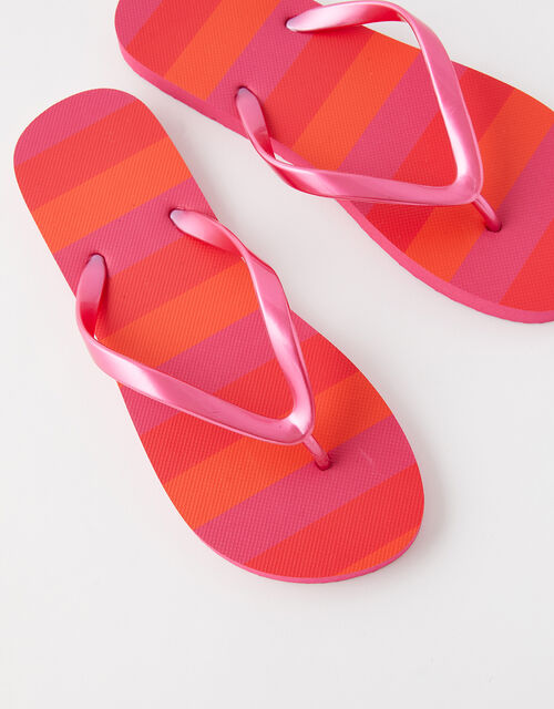 Stripe Print Flip Flops, Multi (BRIGHTS-MULTI), large