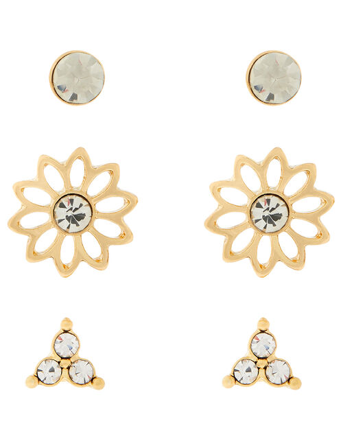Flower and Sparkle Stud Earring Set, , large