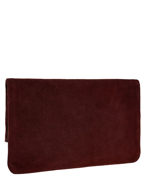 Leather Foldover Pouch, Red (BURGUNDY), large