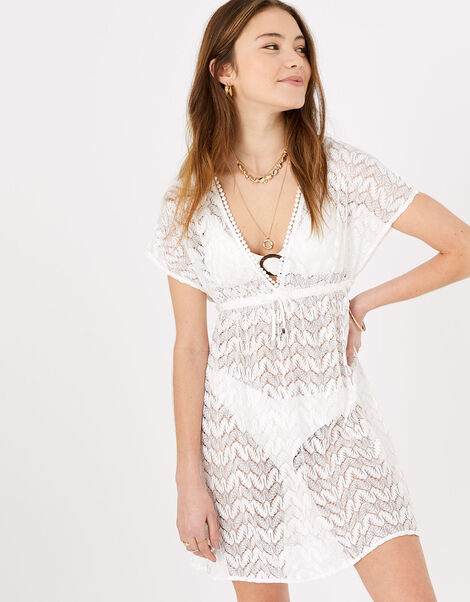 Floral Lace Kaftan Dress White, White (WHITE), large
