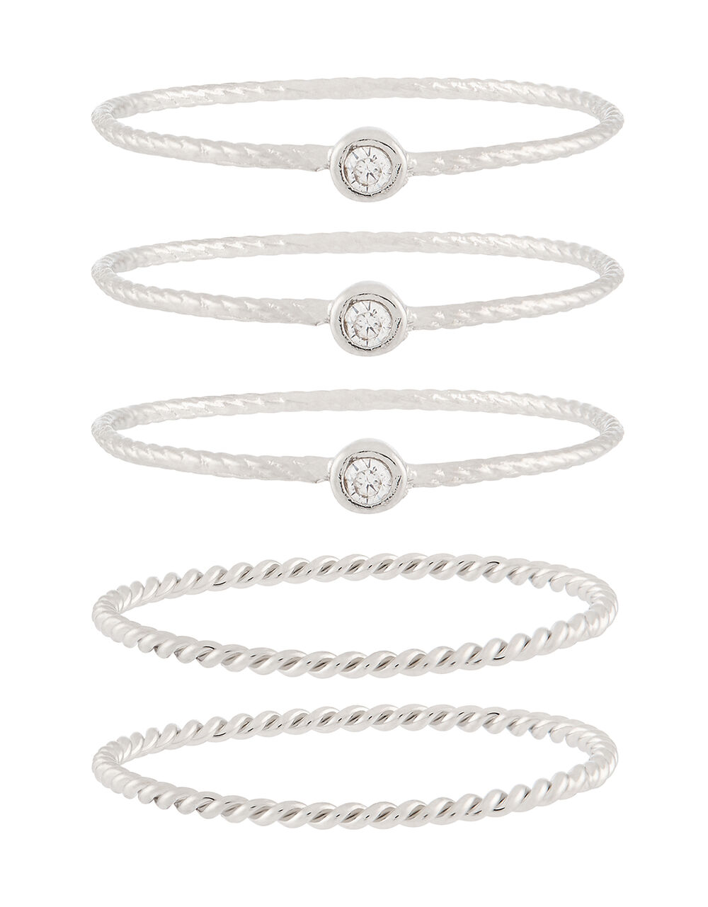 Platinum-Plated Ring Set, Silver (SILVER), large