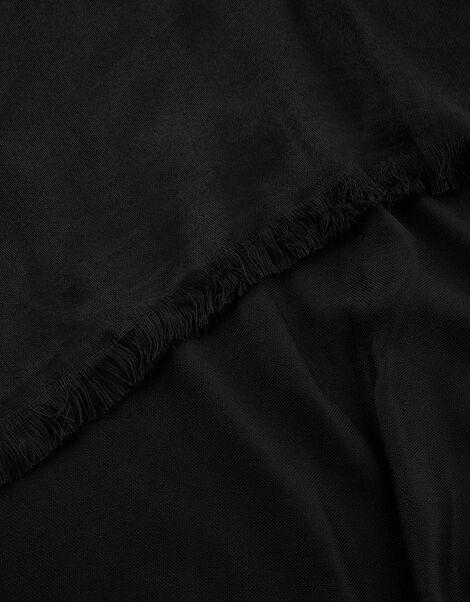 Plain Woven Scarf Black, Black (BLACK), large