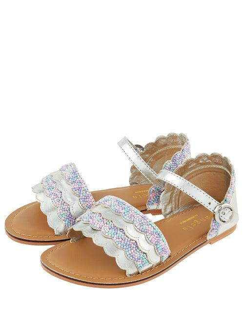 Mermaid Metallic Beaded Sandals, Multi (PASTEL-MULTI), large