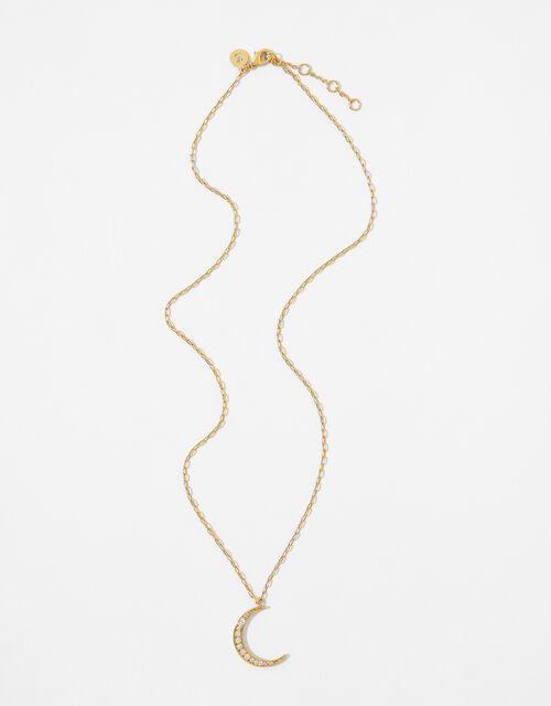Gold-Plated Sparkle Moon Necklace, , large