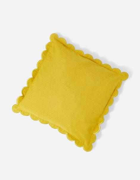 Scallop Edge Cushion Cover Yellow, Yellow (YELLOW), large