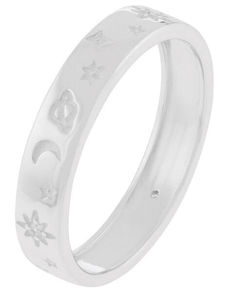 Sterling Silver Sparkle Moon Band Ring Silver, Silver (ST SILVER), large