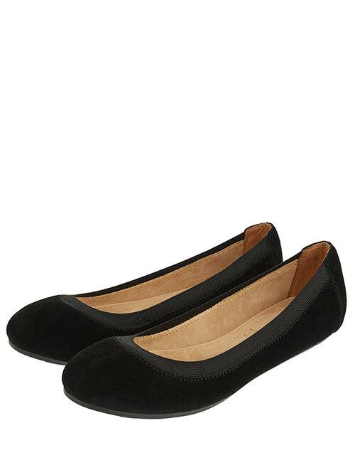 Suede Elasticated Ballerina Flats, Black (BLACK), large