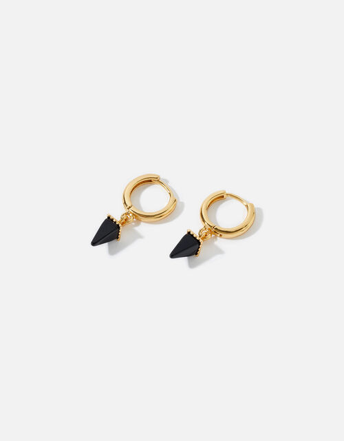Gold-Plated Healing Stone Onyx Hoops, , large