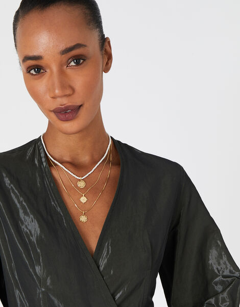 Pearl and Coin Layered Necklace, , large