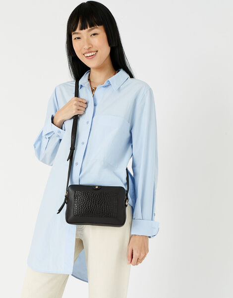 Hanna Double Zip Leather Cross-Body Bag  Black, Black (BLACK), large