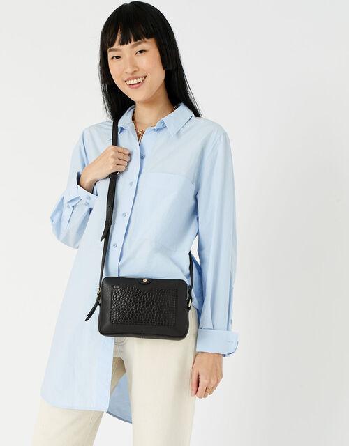 Hanna Double Zip Leather Cross-Body Bag , Black (BLACK), large