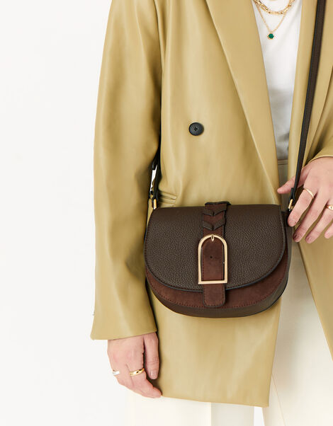 Shania Suedette Cross-Body Bag  Brown, Brown (CHOCOLATE), large