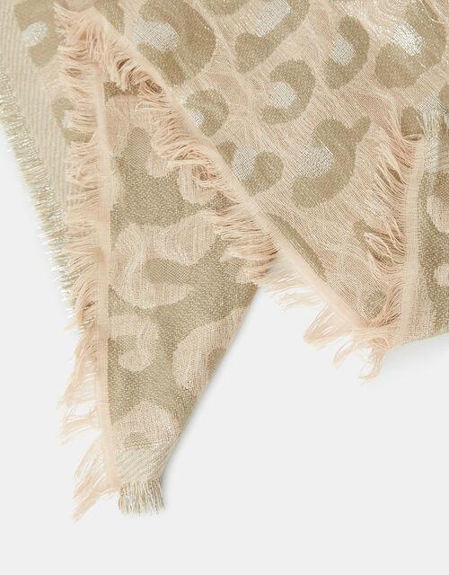 Metallic Leopard Woven Blanket Scarf, , large