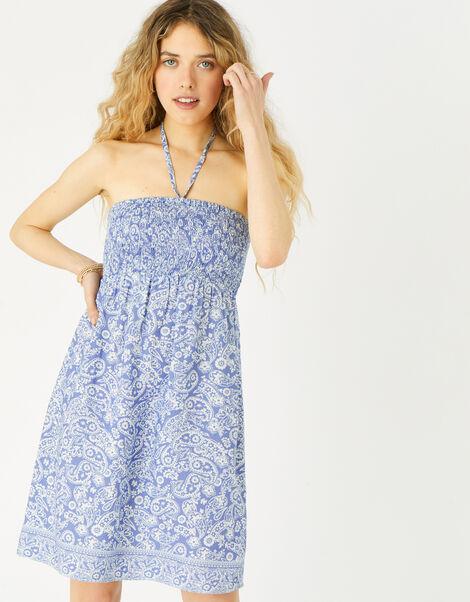 Paisley Bandeau Dress  Blue, Blue (NAVY), large