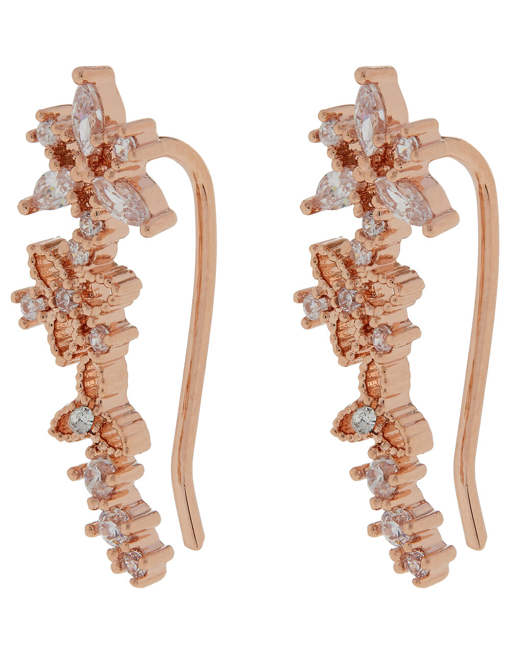 Rose Gold-Plated Sparkle Flower Crawlers, , large