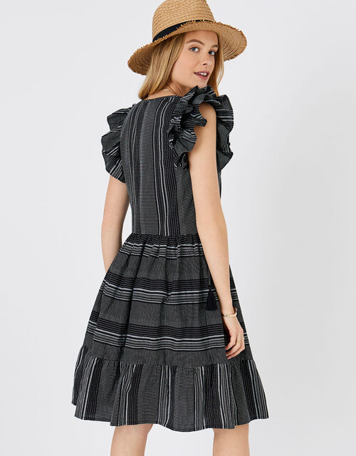 Frill Shoulder Dress in Pure Cotton, Black (BLACK/WHITE), large