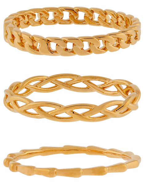 Gold-Plated Chain Ring Set Gold, Gold (GOLD), large
