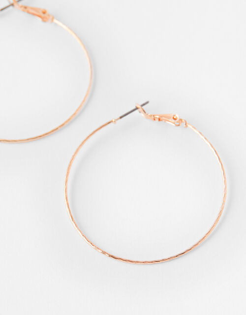 Fine Facet Hoop Earrings, Gold (ROSE GOLD), large