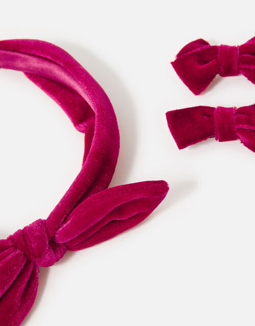 Velvet Bow Hair Accessory Set, , large