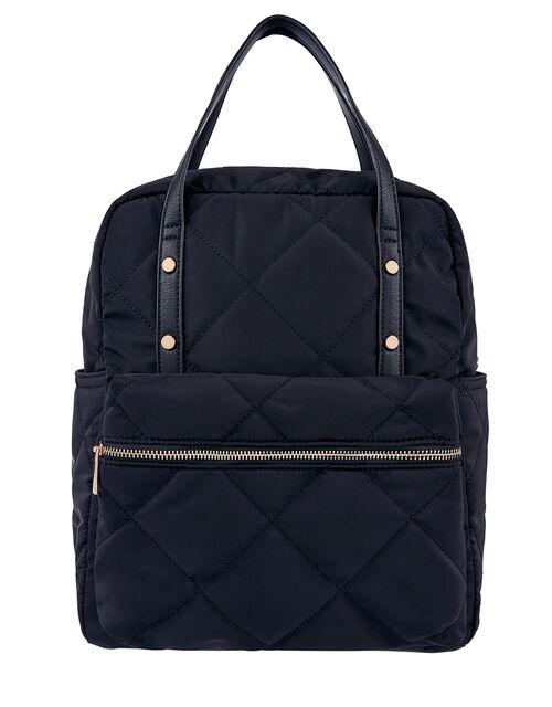 Emmy Vegan Quilted Backpack, Blue (NAVY), large